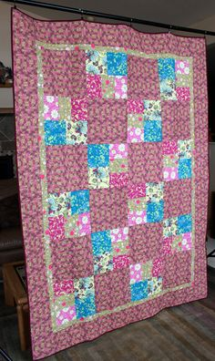 Homemade Patchwork Quilt - Unique - Patchwork Quilt - Floral Pink and Yellow