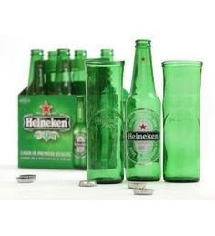 This set of 4 beer glasses is designed specifically to hold a full bottle of cold beer, and is made from recycled green glass Heineken bottles for a classy party addi. Diy Bottle, Bottle Crafts, Beer Bottle Glasses, Glass Coke Bottles, Homemade Beer, How To Make Beer, Beer Brewing, Household Items, Sustainable Design