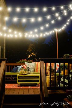 We spend a lot of time on our deck during the summer, so I added some fun string lights to make our outdoor space even cozier! We first added boards to the corners of the deck. Outdoor Deck Lighting, Pergola Lighting, String Lights Outdoor, Outdoor Decor, How To Hang Patio Lights, Lights On Deck, Hanging Porch Lights, Deck Lighting Ideas Diy, Outside Lighting Ideas