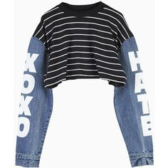 Choies Black Stripe Crop Top with Contrast Denim Sleeves (12,310 KRW) ❤ liked on Polyvore featuring tops, sweaters, shirts, blusas, black, striped shirt, denim shirts, cut-out crop tops, striped denim shirt and striped crop top
