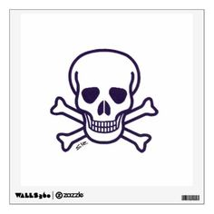Shop Skull n Bones square wall decal created by SteamyR. Car Window Decals, Wall Decals, Off The Wall, Skull And Bones, Custom Wall, Fabric Paper, Note Cards, Horror, Stationery