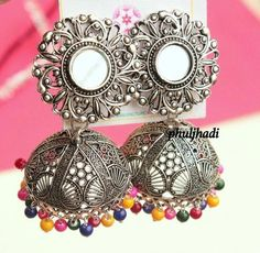 Indian Jewelry Sets, Silver Jewellery Indian, Indian Wedding Jewelry, Indian Earrings, Silver Jewelry, Silver Jhumkas, Metal Jewelry, 925 Silver, Sterling Silver
