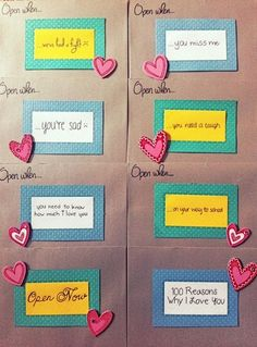 Open when: letters, good idea for gift when he goes to college