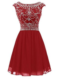Emmani Women's Short Beading Chiffon Bridesmaid Dresses Party Gown Dark Red 20w *** Tried it! Love it! Click the image. : Bridesmaid Dresses