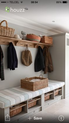 hallway storage or bootroom storage solution with comfy bench, coat hooks and storage cupboard custom built by mowlem & co .with these boot room ideas Boot Room Utility, Utility Room Ideas, Cupboard Storage, Boot Room Storage, Storage Baskets, Coat And Shoe Storage, Coat Cupboard, Utility Room Storage, Hall Cupboard