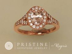 http://rubies.work/1014-citrine/ Pink Peach Champagne Sapphire Engagement Ring Rose Gold Split Shank Diamond Halo Ring Wedding Ring Anniversary