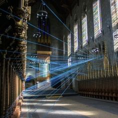 Ci-Lines - Brooklyn-based visual artist Aaron Asis tied over metres of blue cord across Philadelphia's disused St Andrew's Collegiate Chapel for this installation Contemporary Architecture, Interior Architecture, Interior And Exterior, Church Architecture, Interior Design, String Installation, Art Installations, Instalation Art, Land Art