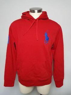 POLO RALPH LAUREN Men's Hoodie Big Pony #3 Logo Long Sleeve Red Blue