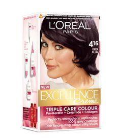 L'Oreal Paris Excellence Cream Hair Color 4.16 Deep Plum (Single Use - Developer Milk, Hair Colorant, Conditioner & Serum)
