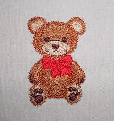 Teddy with bow  machine embroidery www.cyncopia.com