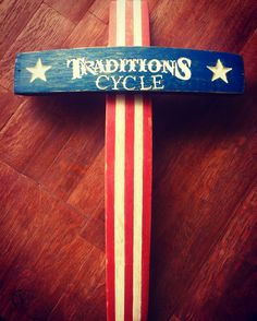 American Flag Custom hand engraved wine barrel stave cross. Made by Country Cowgirl's Creations