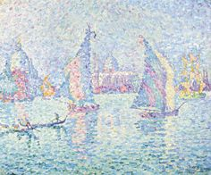 Paul Signac 1863 - 1935 VOILES DANS LA BRUME. CANAL DE LA GIUDECCA signed P. Signac and dated 1904 (lower right); signed P. Signac, inscribed La Brume verte and dated Venise 04 on the stretcher oil on canvas 46 by 55cm. 18 1/8 by 21 5/8 in. Painted in 1904.
