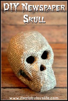 Easy DIY Newspaper Skeleton Skull Halloween Decoration - Love the look of this!  #Halloween