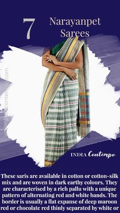 Unnati Silks Women Handloom Cream-Green Pure Narayanpet Cotton Plain Saree with Blouse Piece, woven stripes elegant pallu with border from the weavers of Andhra Pradesh Banaras Sarees, Khadi Saree, Indian Textiles, Indian Fabric, Indian Culture And Tradition, Fashion Terminology, Fashion Designing Course, Earthy Colours, Simple Sarees