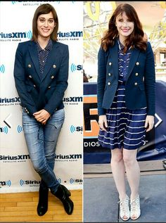 Style blue blazer with jeans and dress.