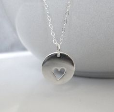 Sterling Silver Heart Disc Necklace /Sterling by SilverorBronze, $27.00 it's like saying you have my heart