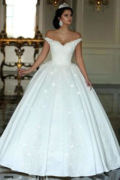 4d23a3d873f Fabulous Satin Off-the-shoulder Neckline Ball Gown Wedding Dresses With  Beaded Lace Appliques
