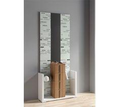 Le presentamos este mueble recibidor con un original y moderno espejo de diseño urbano en blanco, con mueble de cuatro cajones, en colores hueso y walnut que se adapta a las necesidades de su hogar.