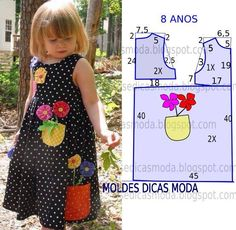 Risultati immagini per vestidos com aplique infantil Toddler Dress, Toddler Outfits, Kids Outfits, Kids Dress Patterns, Sewing Patterns For Kids, Clothes Patterns, Sewing Kids Clothes, Baby Sewing, Fashion Kids