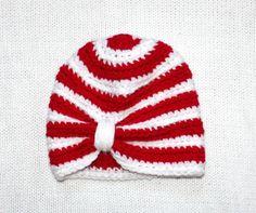 SALE Crochet Christmas Baby Turban Hat Crochet by KristiTreasures