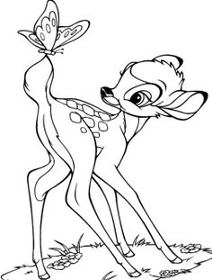 Bambi With Butterfly Coloring Pages
