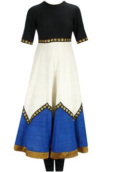 Black, blue and ivory sequins embroidered anarkali set available only at Pernia's Pop-Up Shop.