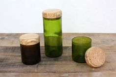 Recycled wine bottles and olivewood  by The Home Project
