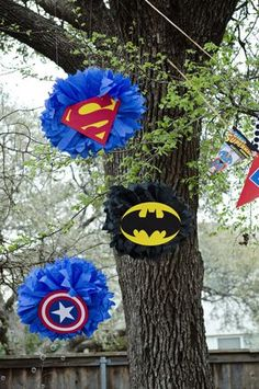 Superhero Party Decorations Poms - Batman Decoration - Ideas of Batman Decoration - Superhero Party Decorations Poms Superman Party, Superman Birthday, Avengers Birthday, Superhero Birthday Party, 4th Birthday Parties, Boy Birthday, Birthday Ideas, Avenger Party, Superhero Party Decorations