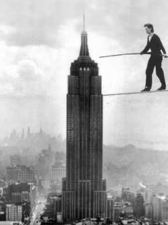 This man tight roped between the twin towers in 1974. He laid down on it and back rolled and everything. I would have died before I even got off the roof