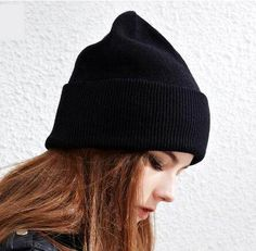 Plain black knit hat for women roll brim wool beanie hats autumn wear c8c98876a