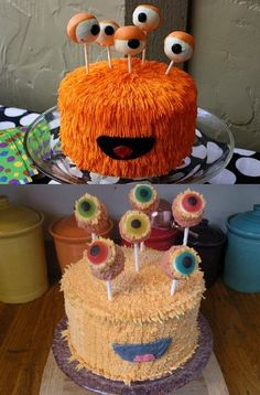 For Liv's Party? Lopez he looks like a yo gabba gabba to me! Monster Party, Monster Cakes, Cake Cookies, Cupcake Cakes, Alien Cake, Halloween Cakes, Birthday Party Themes, Birthday Bash, Cute Cakes
