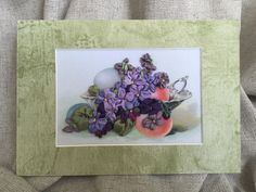 Picture embroidered silk ribbons-Greeting cart by MagnaBoutique