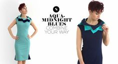 Betty DRESS with the invertible and exchangable Lotus COLLAR from Blues LOTUS collection from SaraSid : midnight blue, aqua, dress, collar, business casual, fashion - https://www.facebook.com/sarasidclothing/