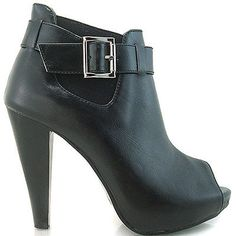 FZ86319 New Ladies Black Peeptoe Buckle Hidden Platform Ankle Boots