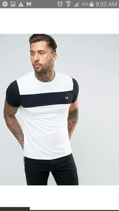 Fred Perry Chest Panel T-Shirt Pique and Jersey in White at ASOS. Mens Polo T Shirts, Denim Shirt Men, 3d T Shirts, Branded T Shirts, Mens Tees, Polo Shirt Design, Polo Design, Fred Perry, Latest Mens Fashion