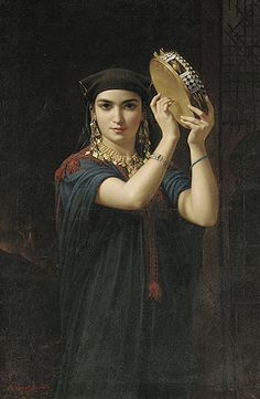 Emile Charles Hippolyte Lecomte-Vernet (French artist, Egyptian Beauty with Tambourine Claude Joseph Vernet, Dance Oriental, Portrait Photos, Gypsy Women, Gypsy Girls, Tambourine, European Paintings, Belly Dancers, French Artists