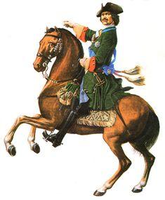 Peter the Great in the uniform of the Preobrazhensky Regiment. Illustration S. Letin