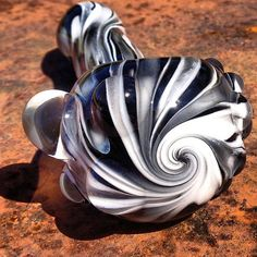 Black and White Glass Pipe / Zebra and Swirl on Etsy, $50.00