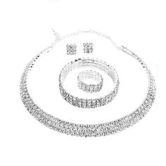 Santfe Crystal Rhinestone Choker Necklace Earrings Bracelet Ring Jewelry Set