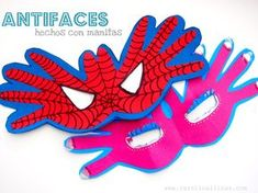 #Artividades : Antifaces hechos con manitos                              … Easy Arts And Crafts, Crafts For Kids To Make, Kids Crafts, Easy Art Projects, Projects For Kids, Spiderman, Masks Art, Crafty Kids, Photo Booth Props