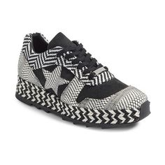 Women's Stella Mccartney Star Woven Espadrille Sneaker (€555) ❤ liked on Polyvore featuring shoes, sneakers, woven sneakers, black and white espadrilles, star shoes, stella mccartney sneakers and stella mccartney trainers