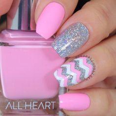 Lovely pink sparkly accent manicure by @sensationails4u using our Chevron Nail Vinyls found at snailvinyls.com & fabulous @shopallheart polish