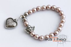 Pearl Angel Heart Bracelet. Stackable.Dangly by KalitheoCreations  #trending #kalitheo