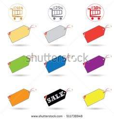Price tags set. Colorful price tags and shopping basket icons on white background. Vector illustration. Advertising. Holiday sale discount banner.