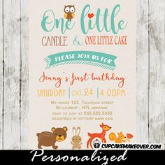 One Little Candle & One Little Cake! Adorable woodland 1st birthday invitations featuring the cutest forest creatures owl, bear, rabbit, deer and squirrel. The perfect first birthday invitation for boys or girls. #cupcakemakeover