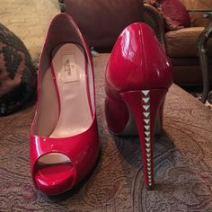 Red Valentino heels It's in great condition especially the red leather! No box and no dust bag :) Valentino Shoes Heels