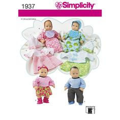 New Simplicity 1937 fits 15 inch Bitty Baby Twins Doll Clothes Pattern Layette  #Simplicity