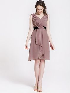 Chiffon Cascade Draped Bridesmaid Dress  | Plus sizes available! You can even custom dress color with them!