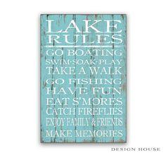 Lac règles signe règles signe en bois en bois lac panneaux lac maison signes lac maison décor cabine décor personnalisé lac signes bleu lac