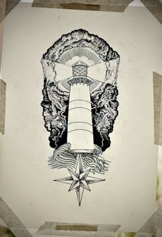 Lighthouse tattoo by Guilherme Hass, via Behance